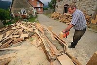 Locals cutting firewood for the winter, North Velebit National Park,  Velebit Nature Park, Rewilding Europe rewilding area, Velebit  mountains, Croatia
