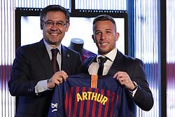 July 12, 2018 - Barcelona, Catalonia, Spain - July 12, 2018 - Camp Nou, Barcelona, Spain -Presentation of Arthur Melo as new player of the FC Barcelona, in Barcelona. (Credit Image: © Marc Dominguez via ZUMA Wire)