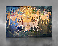 4th Century AD Roman Opus Sectile Mosaic of a chariot & 4 horses from the basilica de Giunio Basso.  Museo Nazionale Romano ( National Roman Museum), Rome, Italy. .<br /> <br /> If you prefer to buy from our ALAMY PHOTO LIBRARY  Collection visit : https://www.alamy.com/portfolio/paul-williams-funkystock/national-roman-museum-rome-mosaic.html <br /> <br /> Visit our ROMAN ART & HISTORIC SITES PHOTO COLLECTIONS for more photos to download or buy as wall art prints https://funkystock.photoshelter.com/gallery-collection/The-Romans-Art-Artefacts-Antiquities-Historic-Sites-Pictures-Images/C0000r2uLJJo9_s0