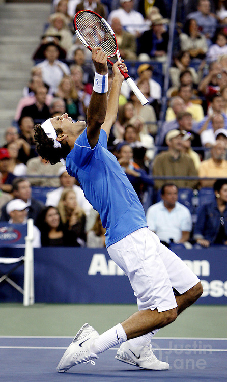 Roger Federer celebrates after defeating Andy Roddick in the men's finals of the 2006 US Open tennis tournament in Flushing Meadows, New York on Sunday 10 September 2006.