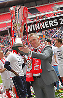 Johnstone's Paint Trophy Final - 07/04/2013 - <br /> Wembley Stadium - Crewe Alexandra vs Southend United<br /> Crewe's manager Steve Davis celebrates with the trophy after the match