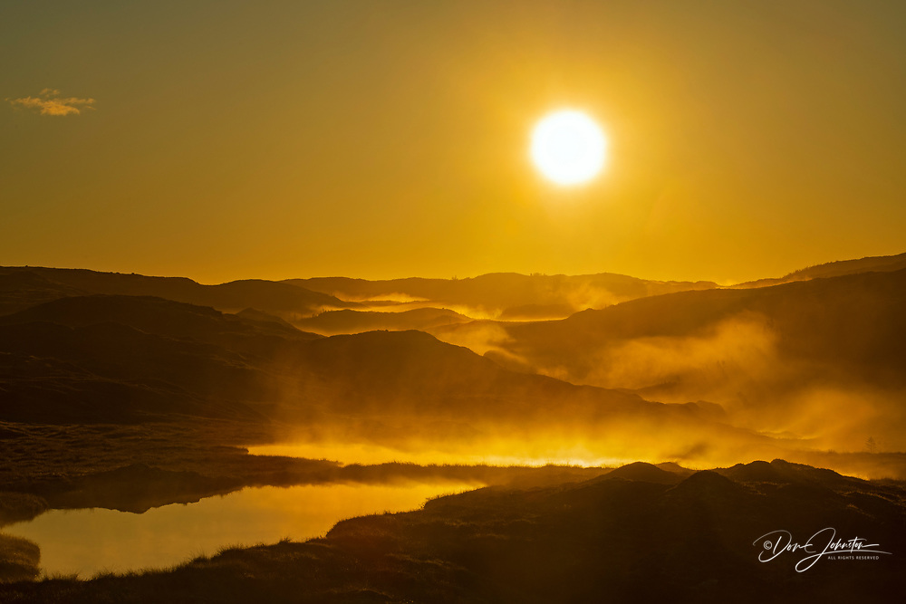 Ponds and treeless terrain at sunrise, Margaree, Newfoundland and Labrador NL, Canada
