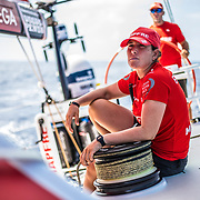 Leg 6 to Auckland, day 17 on board MAPFRE, Tamara Echegoyen trimming at one of the winches. 23 February, 2018.