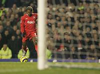 Photo: Dave Howarth.<br /> Everton v Liverpool. The Barclays Premiership. 28/12/2005.  Djibril Cisse Scores Liverpool's third