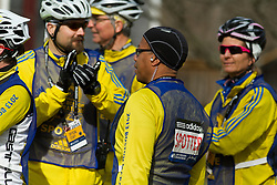 2013 Boston Marathon: spotters support crew assemble prior to start of race