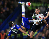 Diego Costa of Chelsea tries an overhead kick. Barclays Premier league match, Chelsea v Tottenham Hotspur at Stamford Bridge in London on Monday 2nd May 2016.<br /> pic by Andrew Orchard, Andrew Orchard sports photography.