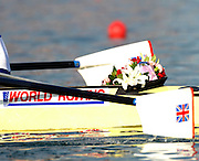 Beijing, CHINA. A Finals, presentation flowers in the bow of the GBR M4-, at  the  2007. FISA Junior World Rowing Championships,  Shunyi Water Sports Complex. 11/08/2007 [Photo, Peter Spurrier/Intersport-images]..... , Rowing Course, Shun Yi Water Complex, Beijing, CHINA,