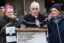 Chelmsford, UK. 6th February, 2019. Andrew Lumsden (c) of the Gay Liberation Front addresses activists from around the UK gathered to show solidarity with the Stansted 15 before their sentencing at Chelmsford Crown Court. The Stansted 15 were convicted on 10th December of an anti-terrorism offence under the Aviation and Maritime Security Act 1990 following non-violent direct action to try to prevent a Home Office deportation flight carrying precarious migrants to Nigeria, Ghana and Sierra Leone from taking off from Stansted airport in March 2017.