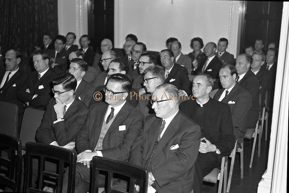 """Dr. Dichter Lecture at the Shelbourne Hotel..1961..02.10.1961..10.02.1961..2nd October 1961..Ernest Dichter is an Austrian-American psychologist and marketing expert known as the """"father of motivational research. He was invited by P Owen Ltd to give a lecture on his methods at the Shelbourne Hotel, Dublin...Image shows the invited audience who attended the Dr Dichter lecture at the Shelbourne Hotel."""