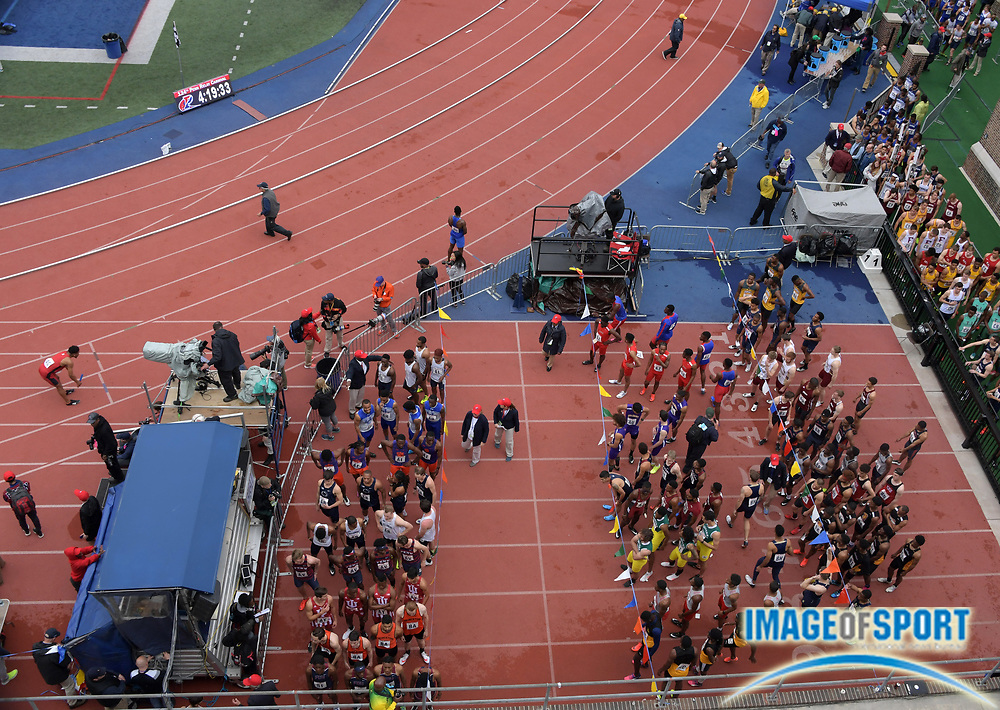 Apr 27, 2018; Philadelphia, PA, USA; Runners in the paddock during the 124th Penn Relays at Franklin Field.