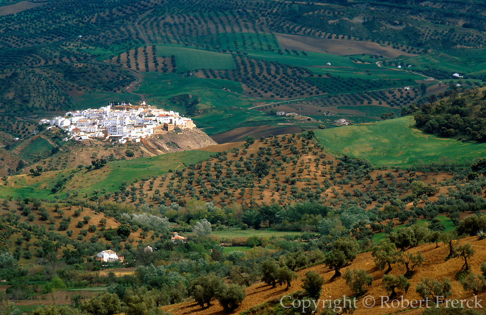 SPAIN, ANDALUSIA Torre Alhaquime, a 'pueblo blanco' or (white village) surrounded by olive groves near Olvera, north of Ronda