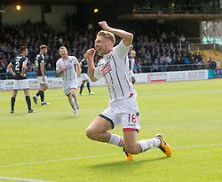 Ross County's Jamie Lindsay (18) cele scoring their goal. half time : Dundee 0 v 1 Ross County, Scottish Premiership game played 5/8/2017 at Dundee's home ground Dens Park.