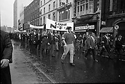 National Farmer's Association Deputation Sit-In at the Department of Agriculture. Image shows Rickard Deasy, President of the N.F.A  leading the march.<br /> 19.10.1966