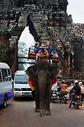 Elephant rides at the South gate to Ankor Thom.
