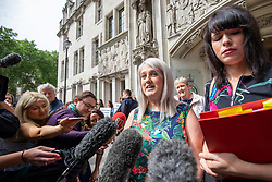 © Licensed to London News Pictures. 07/06/2018. London, UK. Sarah Ewart (centre), a Northern Ireland resident and abortion campaigner, speaks to media outside the Supreme Court after the court said it could not rule on an appeal against Northern Ireland's strict abortion laws, but that it would have declared them incompatible with human rights laws otherwise. Photo credit: Rob Pinney/LNP