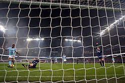 Manchester City's Raheem Sterling scores his side's third goal of the game during the Premier League match at the Etihad Stadium, Manchester.