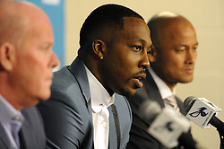 June 26, 2017 - Charlotte, NC, USA - Charlotte Hornets center Dwight Howard answers a question as head coach Steve Clifford, left, and general manager Rich Cho, right, listen during a news conference on Monday, June 26, 2017 at the Spectrum Center in Charlotte, N.C. (Credit Image: © David T. Foster Iii/TNS via ZUMA Wire)