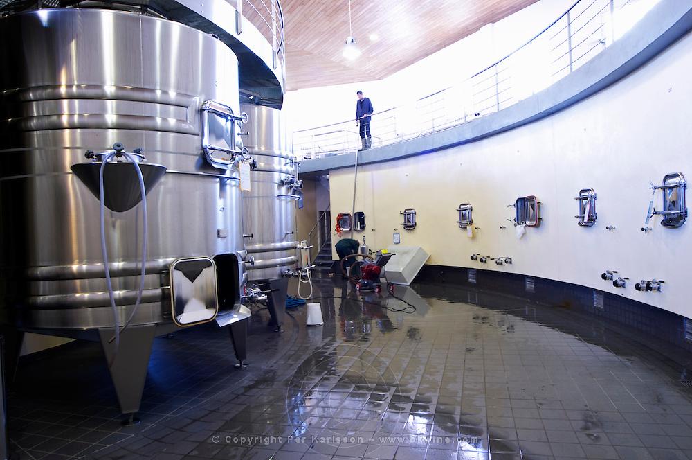pumping over vat room chateau la dauphine fronsac bordeaux france