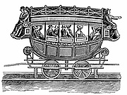 Early American railroad car, showing type of carriage adopted from road transport that was used on the Baltimore and Ohio Railroad and the Mohawk and Hudson lines. Woodcut.