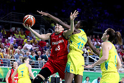 England's Azania Stewart (left) and Australia's Ezi Magbegor (centre) in the Women's Gold Medal Game at the Gold Coast Convention and Exhibition Centre during day ten of the 2018 Commonwealth Games in the Gold Coast, Australia.
