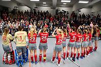 HAMBURG  (Ger) - Match 19,  for bronze , Der Club an der Alster (Ger) - Club Campo de Madrid (Esp) (7-0)  Photo: Alster thanks the public. middle Viktoria Huse (Alster)   Eurohockey Indoor  Club Cup 2019 Women . WORLDSPORTPICS COPYRIGHT  KOEN SUYK