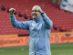 February 23, 2019 - Sheffield, England, United Kingdom - Nick Cushing Manchester City manager celebrates their win      during the  FA Women's Continental League Cup Final  between Arsenal and Manchester City Women at the Bramall Lane Football Ground, Sheffield United FC Sheffield, Saturday 23rd February. (Credit Image: © Action Foto Sport/NurPhoto via ZUMA Press)