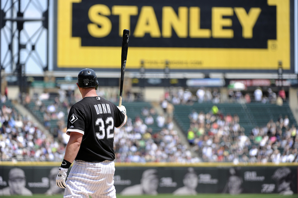 CHICAGO - MAY 22:  Adam Dunn #32 of the Chicago White Sox bats against the Los Angeles Dodgers on May 22, 2011 at U.S. Cellular Field in Chicago, Illinois.  The White Sox defeated the Dodgers 8-3.  (Photo by Ron Vesely)  Subject:   Adam Dunn