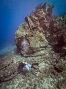 Scuba diving in Volcano lava in Hawaii, Big Island