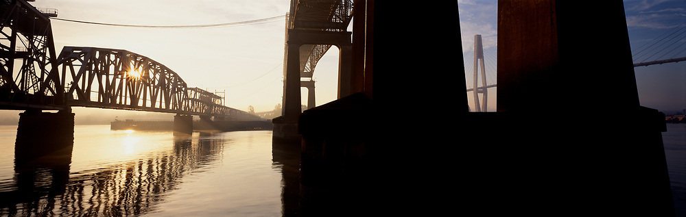 Pattullo, Skytrain and railroad bridges at sunrise