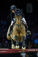 Jane Richard Philips on Foica van den Bisschop competes during Longines Speed Challenge at the Longines Masters of Hong Kong on 20 February 2016 at the Asia World Expo in Hong Kong, China. Photo by Juan Manuel Serrano / Power Sport Images
