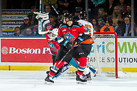 KELOWNA, BC - NOVEMBER 8:  Roman Basran #30 of the Kelowna Rockets makes a first period save on a shot by Elijah Brown #5 of the Medicine Hat Tigers at Prospera Place on November 8, 2019 in Kelowna, Canada. (Photo by Marissa Baecker/Shoot the Breeze)