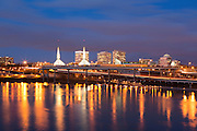 The lighted towers of the Convention Center in Portland, Oregon. Winter 2013.