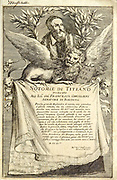 """woodcut print at the opening of the Human Anatomy book """"Notomie di Titiano"""" Printed in Italy in 1670"""