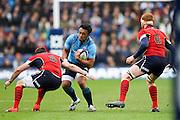28.02.2015.  Edinburgh, Scotland. 6 Nations Championship. Scotland versus Italy.  Scotland's Johnnie Beattie (left) and Robert Harley challenge Italy's Kelly Haimona.