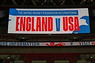 England v USA signage prior to the international Friendly match between England and USA at Wembley Stadium, London, England on 15 November 2018.