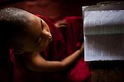 A novice monk concentrates on learning.