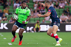 March 1, 2019 - Victoria, VIC, U.S. - MELBOURNE, AUSTRALIA - MARCH 01: Waisake Naholo (14) of the Highlanders in action at The Super Rugby match between Melbourne Rebels and Highlanders on March 01, 2019 at AAMI Park, VIC. (Photo by Speed Media/Icon Sportswire) (Credit Image: © Speed Media/Icon SMI via ZUMA Press)