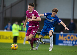 Arbroath's Michael McKenna and Montrose Matty Allan. Arbroath 2 v 0 Montrose, Scottish Football League Division One played 10/11/2018 at Arbroath's home ground, Gayfield Park.