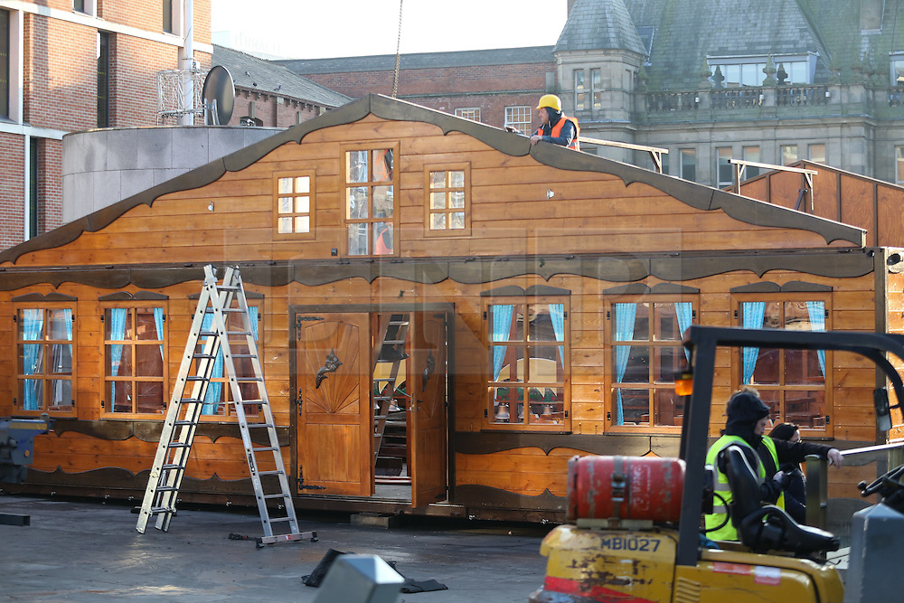 © Licensed to London News Pictures. 20/12/2016. Leeds, UK. The annual Christmas market at Millennium Square in Leeds, West Yorkshire, is packed up and taken away by workers. The market closed last Sunday, the 18th December. Photo credit : Ian Hinchliffe/LNP