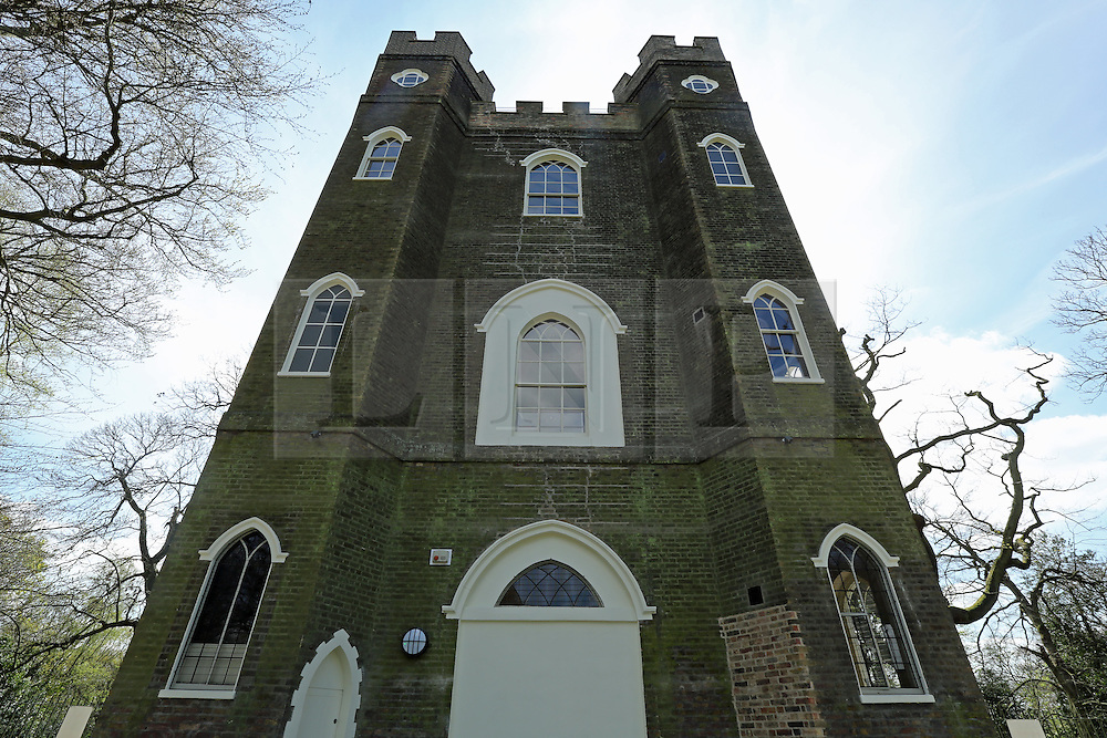 © Licensed to London News Pictures. 18/07/2014.  Exterior view of Severndroog Castle - taken during restoration 10/04/2014. An 18th century castle on a hill in south east London is preparing to reopen this weekend following a lengthy, painstaking restoration project. Severndroog Castle in Oxleas Woods on Shooters Hill enjoys stunning views across seven counties on a clear day. The folly has been closed for many years and was in state of disrepair before work started on a restoration project last year. The historic building featured in the BBC series Restoration in 2004. The reopening takes place on Sunday July 20th - more information about the castle and the reopening available fron the Severndroog Castle Building Presevation Trust. http://www.severndroogcastle.org.uk/index.html Credit : Rob Powell/LNP