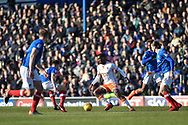 Blackpool Midfielder, Viv Solomom-Otabor (17) takes on the Portsmouth defence during the EFL Sky Bet League 1 match between Portsmouth and Blackpool at Fratton Park, Portsmouth, England on 24 February 2018. Picture by Adam Rivers.