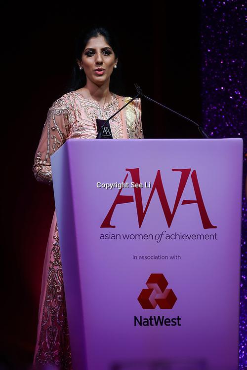London, UK. 10th May 2017. Social & Humanitatian award to Sofia Buncy at The Asian Women of Achievement Awards 2017 at the London Hilton on Park Lane Hotel. Photo by See li Credit: See Li