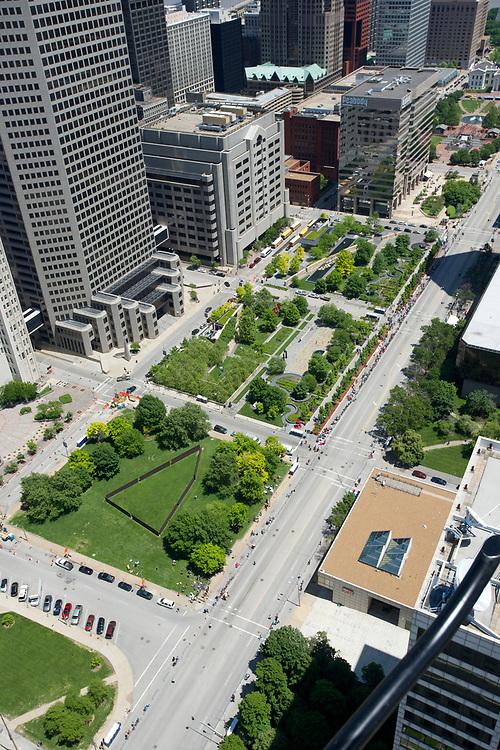 Citygarden, an urban park and sculpture garden in St. Louis, Missouri