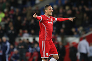 Federico Macheda of Cardiff celebrates with the fans after scoring his side's second goal.<br /> <br /> Skybet Football League Championship match, Cardiff City v Ipswich Town at the Cardiff city stadium in Cardiff, South Wales on Tuesday 21st October 2014<br /> pic by Mark Hawkins, Andrew Orchard sports photography.