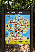 Interpretive map at the Singapore Zoo, Singapore, Republic of Singapore
