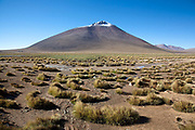 A snow capped volcano. Salar Uyuni salt flats and Eduardo Avaroa national park, south western Bolivia
