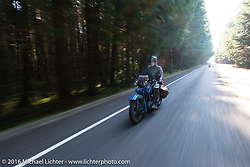 Pat Simmons of the Doobie Brothers riding his 1929 Harley-Davidson JD during Stage 16 (142 miles) of the Motorcycle Cannonball Cross-Country Endurance Run, which on this day ran from Yakima to Tacoma, WA, USA. Sunday, September 21, 2014.  Photography ©2014 Michael Lichter.