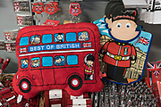 Gift shop. London buses and souvenirs from London in Service station.