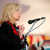 051713       Brian Leddy<br /> Jill Biden, wife of Vice President Joe Biden, speaks during commencement ceremonies at Navajo Technical College Friday in Crownpoint.