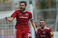 Accrington Stanley Defender, Séamus Conneely (28) scores to make to make it 1-1 goal celebration during the EFL Sky Bet League 1 match between Accrington Stanley and Scunthorpe United at the Fraser Eagle Stadium, Accrington, England on 1 September 2018.